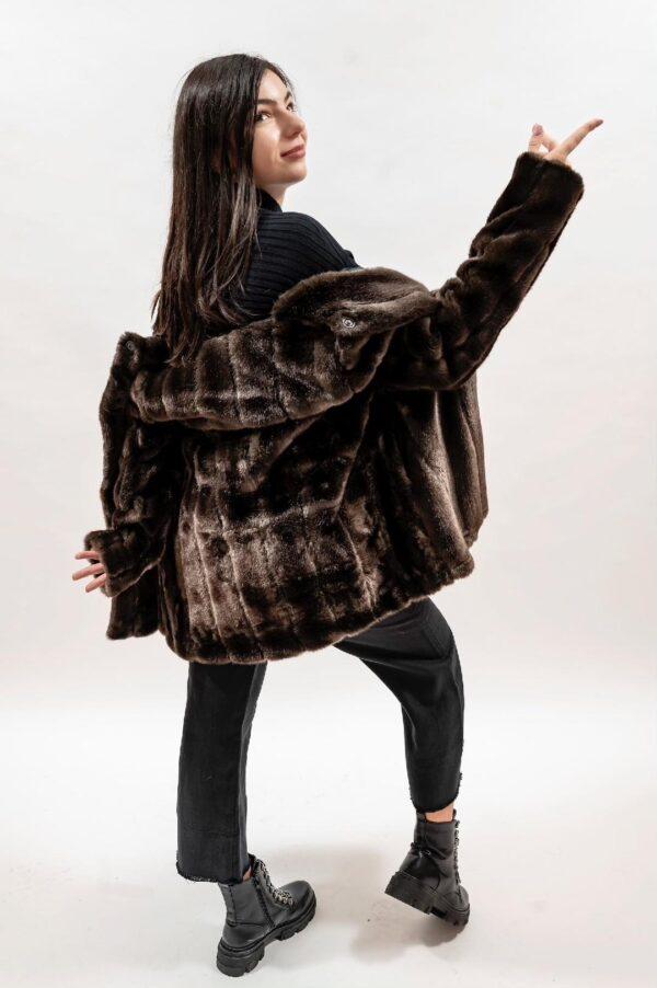 Palton maro de dama din blana ecologica