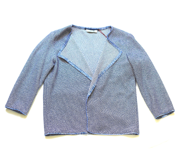 Sacou de dama tricot din bumbac albastru