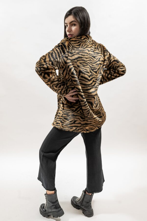 Palton de dama din blana ecologica tigrata