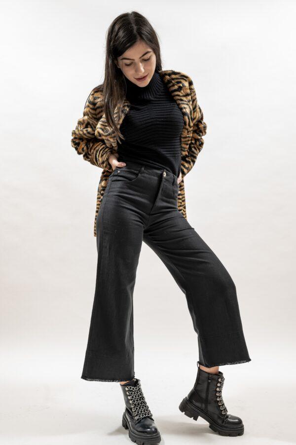 Pantalon negru de dama evazat cu talie inalta