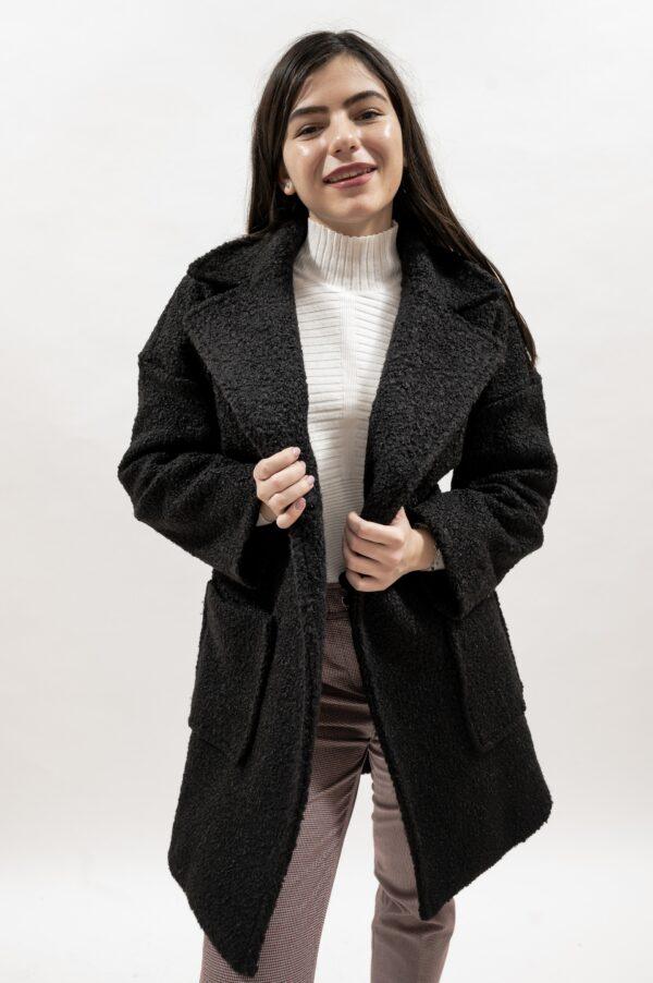 Palton lung de dama negru