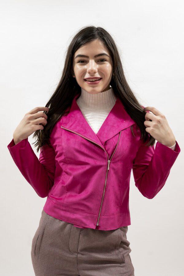 Geaca roz de dama din piele intoarsa ecologica