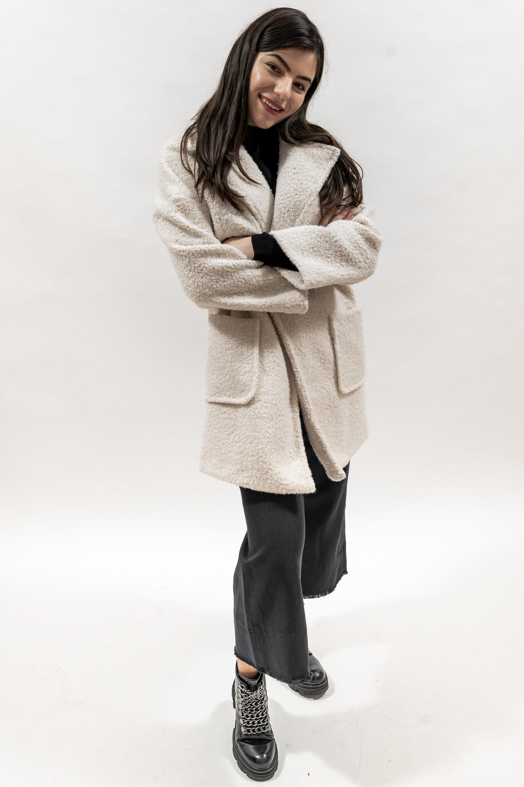 Palton lung (alb, negru)