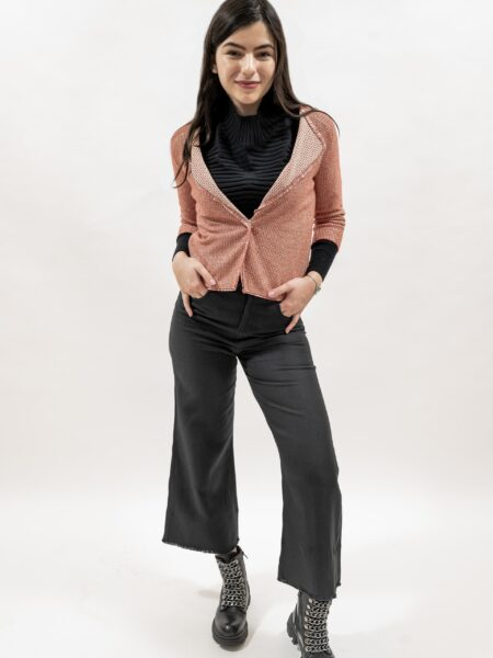 Sacou de dama tricot din bumbac rosu