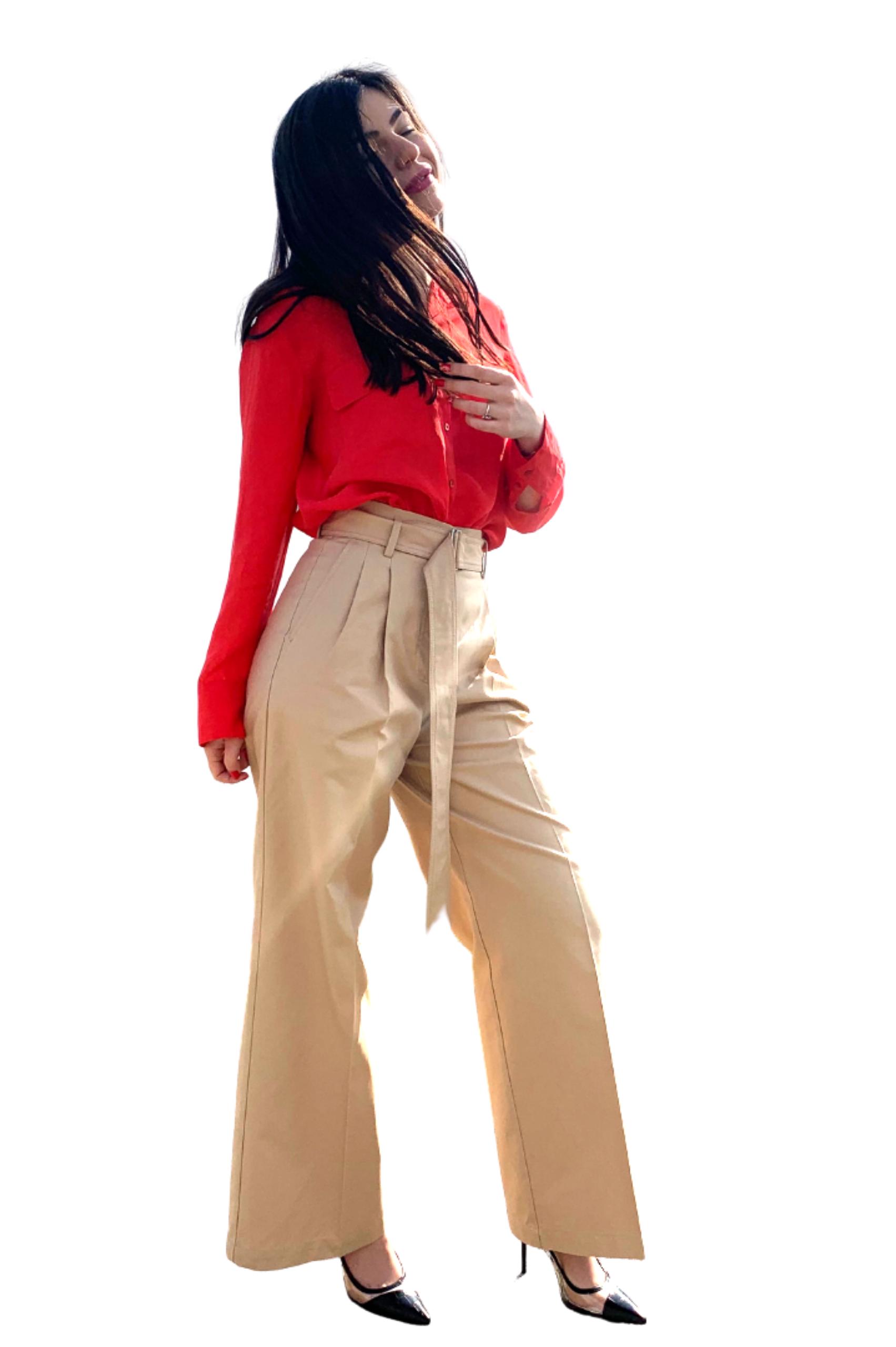 Pantalon palazzo crem cu centură